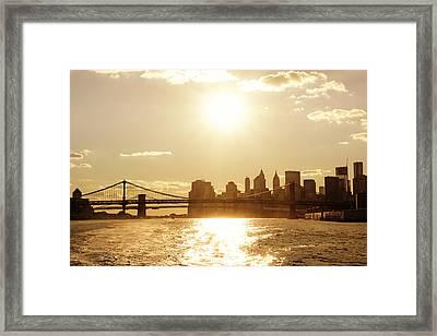 New York City Sunset Framed Print by Vivienne Gucwa
