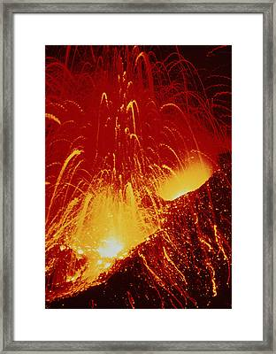 Night View Of Eruption Of Alaid Volcano, Cis Framed Print by Ria Novosti