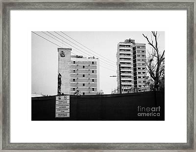 No Photography Warning Signs At Varosha Forbidden Zone With Salaminia Tower Hotel Abandoned In 1974 Framed Print by Joe Fox