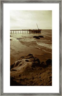 Oil Pier Framed Print by Ron Regalado