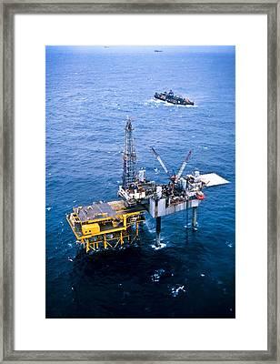 Oil Platform Framed Print by Arno Massee