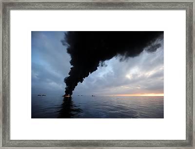 Oil Spill Burning, Usa Framed Print by U.s. Coast Guard