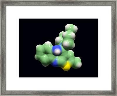 Olanzapine Antipsychotic Drug Molecule Framed Print by Dr Tim Evans
