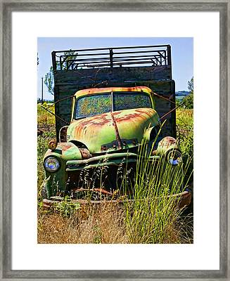 Old Green Truck Framed Print by Garry Gay
