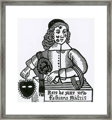 Ornamental Patches On Face, 17th Century Framed Print by Photo Researchers