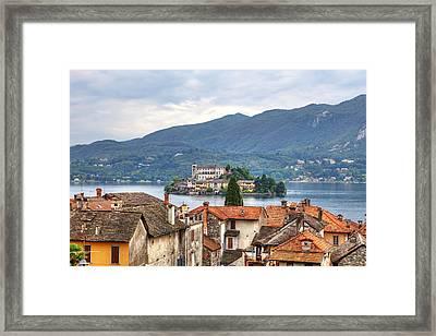 Orta - Overlooking The Island Of San Giulio Framed Print by Joana Kruse