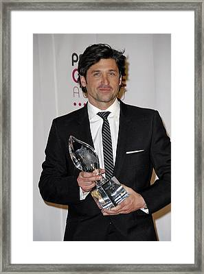 Patrick Dempsey In The Press Room Framed Print by Everett