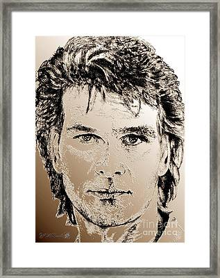 Patrick Swayze In 1989 Framed Print by J McCombie