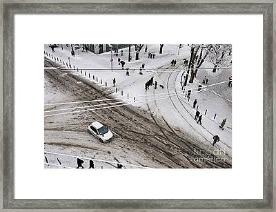People Walking On Snow In Marseille Framed Print by Sami Sarkis