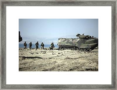 Peruvian Marines Disembark Amphibious Framed Print by Stocktrek Images