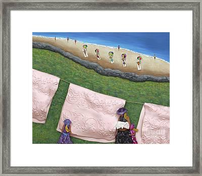 Pink Linen Framed Print by Anne Klar