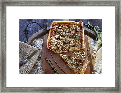 Pizza With Herbs Framed Print by Joana Kruse