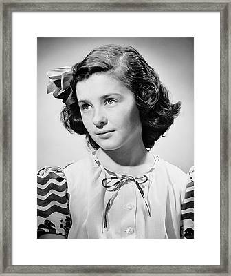 Portrait Of Young Girl Framed Print by George Marks