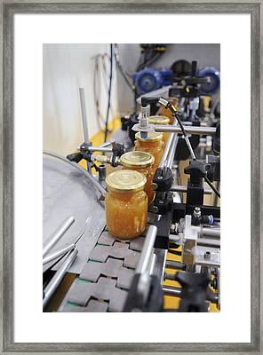 Preserve And Jam Bottling Production Line Framed Print by Photostock-israel