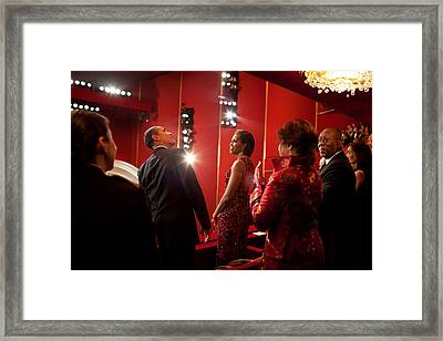 President And Michelle Obama Attend Framed Print by Everett