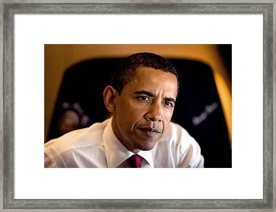 President Barack Obama During An Framed Print by Everett