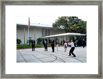 President Barack Obama Shoots Hoops Framed Print by Everett