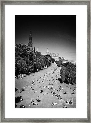 Princes Street Gardens On A Hot Summers Day In Edinburgh Scotland Uk United Kingdom Framed Print by Joe Fox