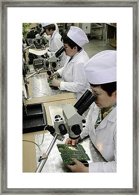 Printed Circuit Board Assembly Work Framed Print by Ria Novosti