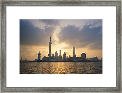 Pudong Skyline, Seen Framed Print by Justin Guariglia
