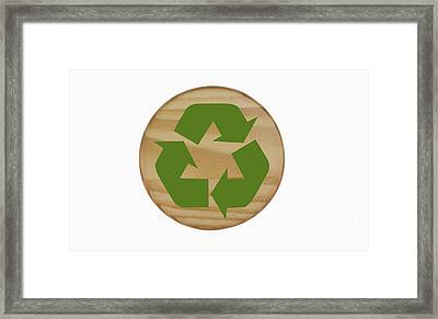 Recycling Symbol On Wood Framed Print by Blink Images