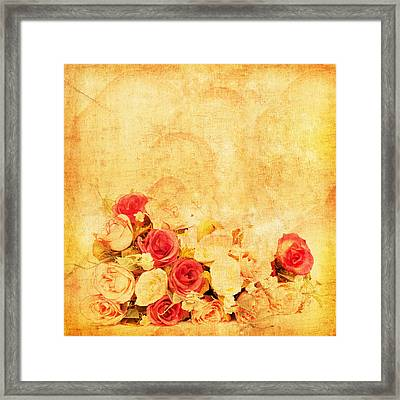 Retro Flower Pattern Framed Print by Setsiri Silapasuwanchai