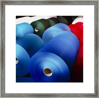 Rolls Of Coloured Paper At A Paper Mill Framed Print by Colin Cuthbert