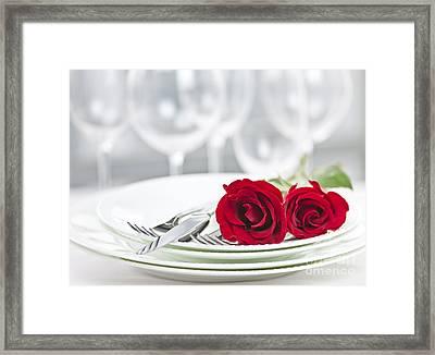 Romantic Dinner Setting Framed Print by Elena Elisseeva