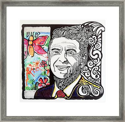 Ronald Reagan - Berlin Wall Framed Print by Ben Gormley