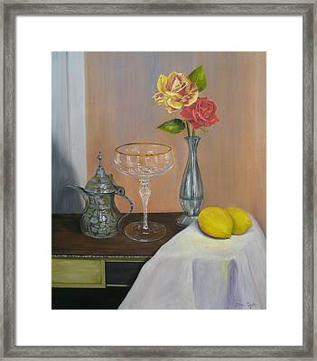 Roses And Lemons Framed Print by Sue Taylor