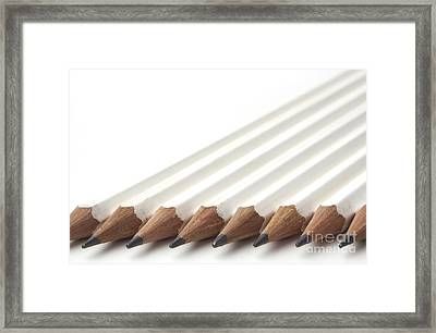 Row Of White Pencils Framed Print by Blink Images