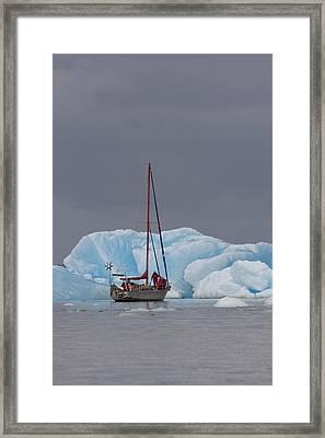 Sail Boat In Laguna San Rafael, Laguna Framed Print by Peter Langer