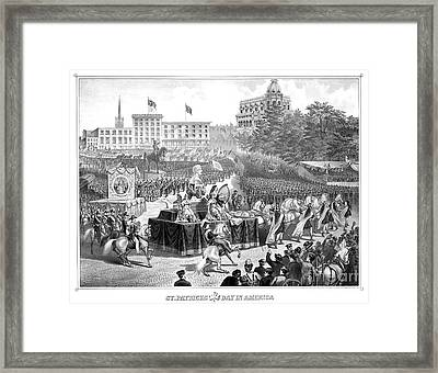 Saint Patricks Day In America, 1872 Framed Print by Photo Researchers