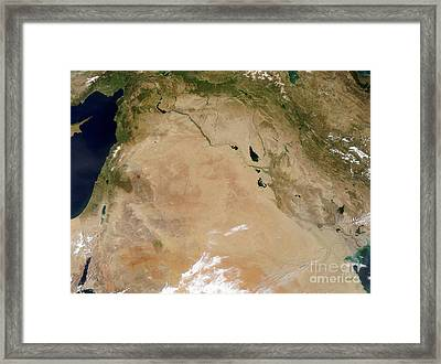 Satellite View Of The Middle East Framed Print by Stocktrek Images