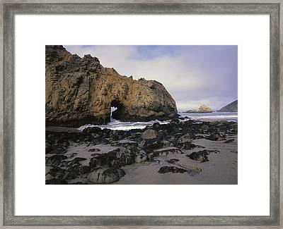 Sea Arch At Pfeiffer Beach Big Sur Framed Print by Tim Fitzharris