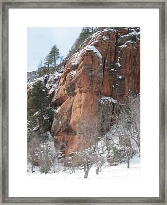 Sedona Snow Framed Print by Sandy Tracey