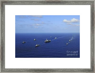 Ships From The Ronald Reagan Carrier Framed Print by Stocktrek Images