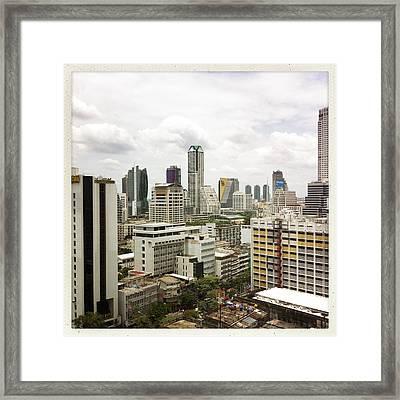 Skyline Of Bangkok Framed Print by Ixefra