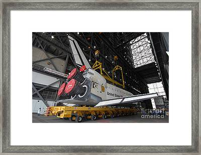 Space Shuttle Atlantis Rolls Framed Print by Stocktrek Images