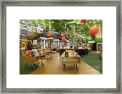 Spacious Bookstore Interior Framed Print by Jaak Nilson