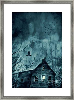 Spooky House At Sunset  Framed Print by Sandra Cunningham