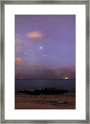 Stars And Jupiter In A Night Sky Framed Print by Laurent Laveder