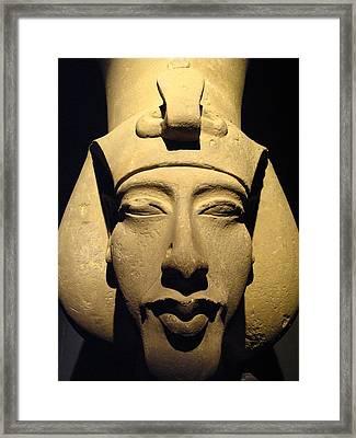 Statue Of Pharaoh Akhenaten, Also Known Framed Print by Richard Nowitz