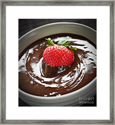 Strawberry Dipped In Chocolate Framed Print by Elena Elisseeva