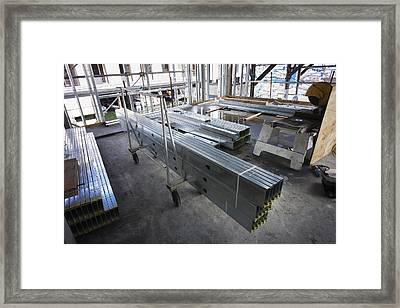 Structural Steel Construction. Metal Framed Print by Don Mason