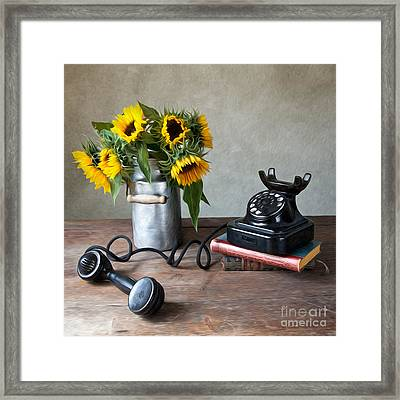 Sunflowers And Phone Framed Print by Nailia Schwarz