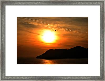 Sunset In The Village Corniglia Framed Print by Neha Singh