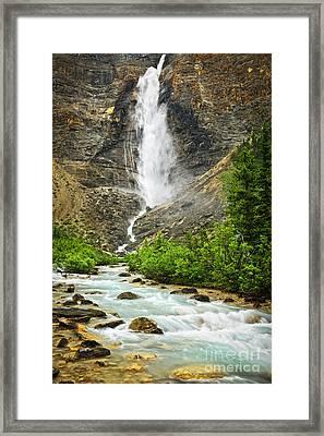 Takakkaw Falls Waterfall In Yoho National Park Canada Framed Print by Elena Elisseeva