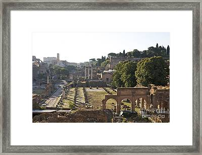 Temple Of Vesta Arch Of Titus. Temple Of Castor And Pollux. Forum Romanum Framed Print by Bernard Jaubert