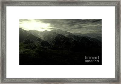 Terragen Render Of Mt. Whitney Framed Print by Rhys Taylor